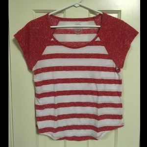 Red and White striped short sleeve shirt!